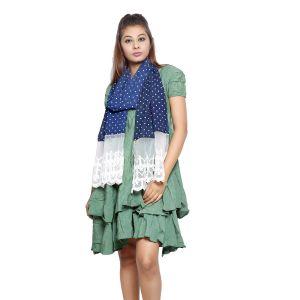 Buy Grishti Women's Frayed Dark Blue Scarf Gg18darkblue-navyblue online