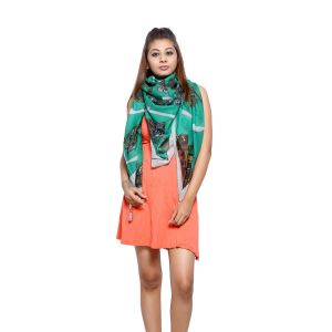 Buy Grishti Women'S Printed Green Scarf online