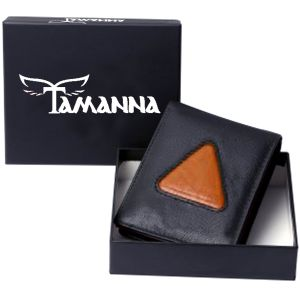 Buy Tamanna Men Black, Genuine Leather Wallet (8 Card Slots) online
