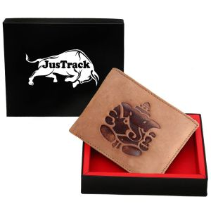 Buy Justrack Men Tan Genuine Leather Wallet (7 Card Slots) online