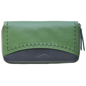 Buy Tamanna Women Green, Grey Genuine Leather Wallet (10 Card Slots) online