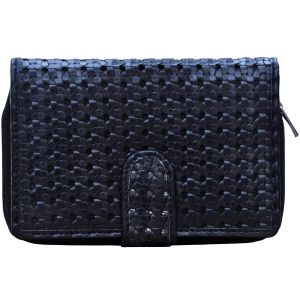 Buy Tamanna Women Black Blue Leather Wallet online