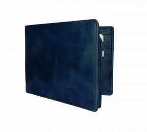 Cerulean Blue Textured Mens Premium PU Leather Wallet By GetSetStyle GSSREPU-BLU-7078