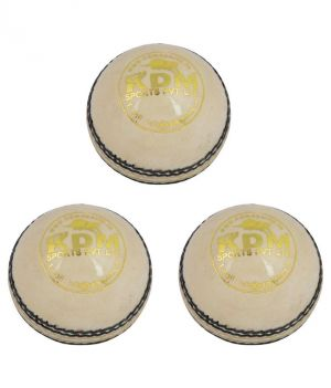 Buy Kdm Sports Tiger White Leather Ball - Pack Of 3 online