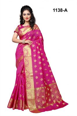 Buy Mahadev Enterprises Pink Cotton Silk Saree With Blouse Rjm1138a online