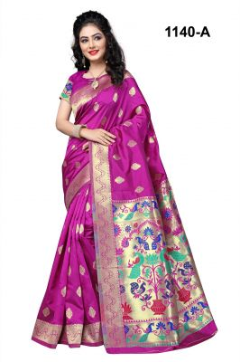 Buy Mahadev Enterprises Megneta Pure Cotton Jacquard Pallu Saree With Blouse Rjm1140a online