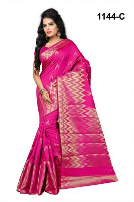 Buy Mahadev Enterprises Pink Banarasi Silk Saree With Blouse Rjm1144c online