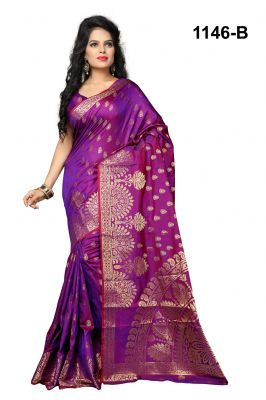 Buy Mahadev Enterprises Purple Pure Cotton Jacquard Work Saree With Blouse Rjm1146b online