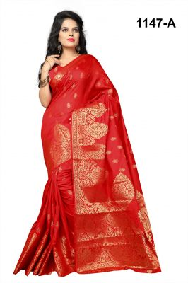 Buy Mahadev Enterprises Red Pure Cotton Jacquard Work Saree With Blouse Rjm1147a online