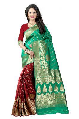Buy Mahadev Enterprises Rama & Maroon Cotton Jacquard Saree With Blouse 2bvm19 online