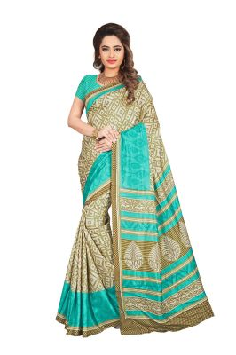 Buy Mahadev Enterprises Beige & Green Color Art Cotton Silk Saree With Unstitched Blouse Pics Kak344b online