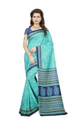 Buy Mahadev Enterprises Sea_green Color Art Cotton Silk Saree With Unstitched Blouse Pics Kak345 online