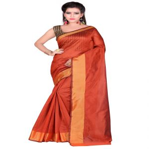 f17b1b92b9a96a Buy Mahadev Enterprises Orange Bangalory Silk Saree With Unstitched Blouse  Pics online
