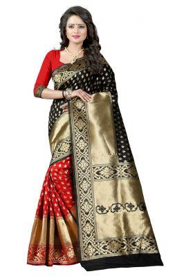 Buy Mahadev Enterprises Black & Red Cotton Jacquard Saree With Blouse 3bvm22 online