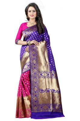 Buy Mahadev Enterprises Blue & Pink Cotton Jacquard Saree With Blouse 3bvm23 online