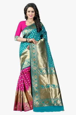 Buy Mahadev Enterprises Rama & Pink Cotton Jacquard Saree With Blouse 3bvm28 online