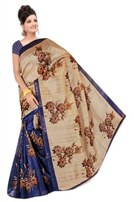 Buy Mahadev Enterprises Blue & Beige Colour Bhagalpuri Silk Saree Meb_56 online