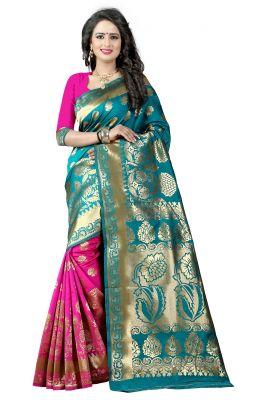 Buy Mahadev Enterprises Rama & Pink Cotton Jacquard Saree With Blouse 5bvm44 online
