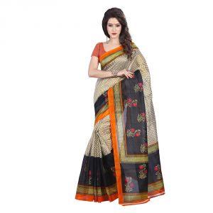 Buy Mahadev Enterprises Burlywood & Multi-colour Bhagalpuri Silk Saree Meb_77 online