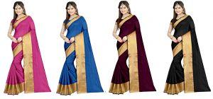 Buy Mahadev Enterprises Multicolor Cotton Silk Saree ( 4 Combo Saree ) With Unstitched Blouse Pics Akm871112 online