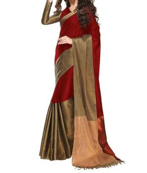 Buy Mahadev Enterprises Red Color Bhagalpuri Cotton Silk Saree With Unstitched Blouse Pics Ssc4782 online