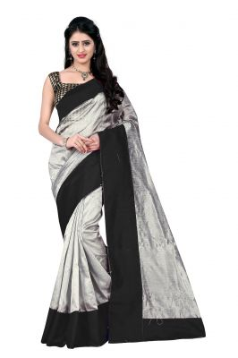 Buy Mahadev Enterprises Grey & Black Art Cotton Silk Saree With Blouse _ Mask901a online