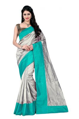 Buy Mahadev Enterprises Grey & Sea_green Art Cotton Silk Saree With Blouse _ Mask901j online