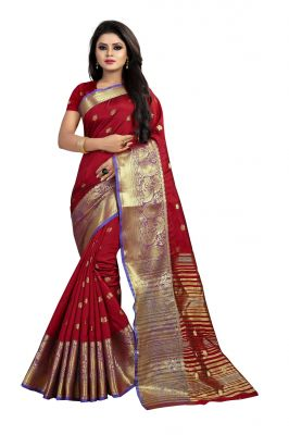 Buy Mahadev Enterprises Maroon Cotton Silk Jequard Border Weaving Saree With Running Blouse Pics online