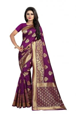 5e6c1e728881a4 Buy Mahadev Enterprise Purple Banarasi Silk saree With Running Blouse Pic  online