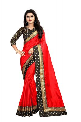 Buy Mahadev Enterprises Red Paper Silk Saree With Running Blouse Pics online