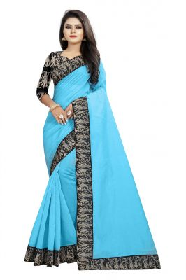 Buy Mahadev Enterprises Turquoise Chanderi Cotton Saree With Running Blouse Pics online