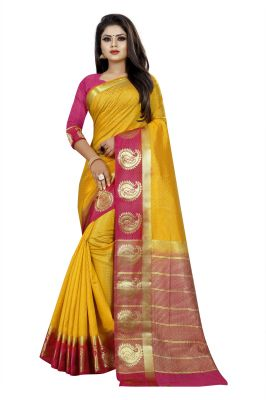 Buy Mahadev Enterprise Yellow And Pink Kanjiwaram Silk Saree With Running Blouse Pics online