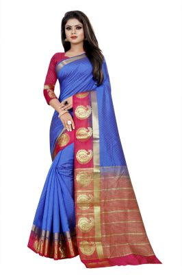 Buy Mahadev Enterprise Blue And Pink Kanjiwaram Silk Saree With Running Blouse Pics online