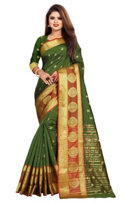 Buy Mahadev Enterprise Mahendi Jacquard Cotton Silk Saree With Running Blouse Pics online