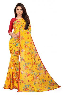 Buy Mahadev Enterprise Yellow Chiffon Printed Saree With Banglori Print Blouse Piecs( Code -bbc188c) online