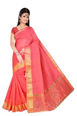 Buy Mahadev Enterpries Peach Supernet saree With Running Blouse online