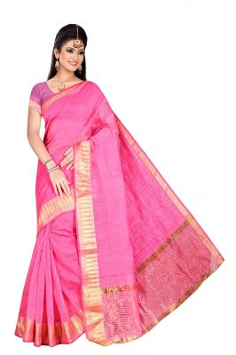 Buy Mahadev Enterprises Pink supernet  Saree With Blouse online
