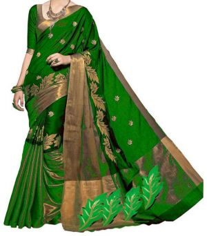 Buy Mahadev Enterprises Green Color Cotton Silk Embroidery Work Saree With Unstitched Blouse Pics Pf38 online