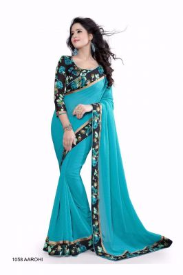 Buy Mahadev Enterprises Rama Color Georgatte Saree With Unstitched Blouse Pics Bvm04 online
