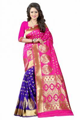 Buy Mahadev Enterprises Pink & Blue Cotton Saree With Blouse Pics Bvm09 online