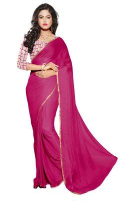 Buy Mahadev Enterprises Maroon Colour Nazmin Plain Saree With Unstitched Blouse Pics Mak05 online
