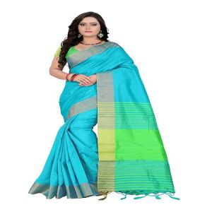 Buy Mahadev Enterprises Sky_Blue Cotton Saree With Unstitched Blouse Pics online