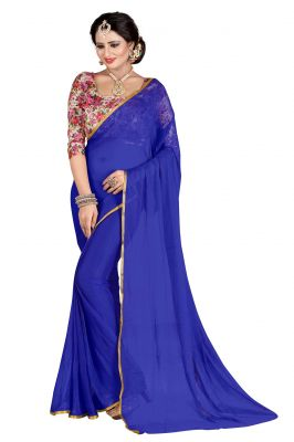 Buy Mahadev Enterprises Blue Plain Nazneen Weaving Saree With Unstitched Blouse Pics online