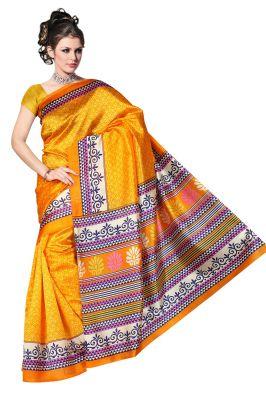 Buy Mahadev Enterprises Yellow Colour Lichi Silk Saree Mel_0257 online
