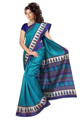 Buy Mahadev Enterprises Rama Colour Lichi Silk Saree Mel_8023 online