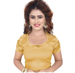 f9347a4a7a5eec Buy Mahadev Enterprises Gold Pure Cotton Lycra With Net Readymade Blouse  online