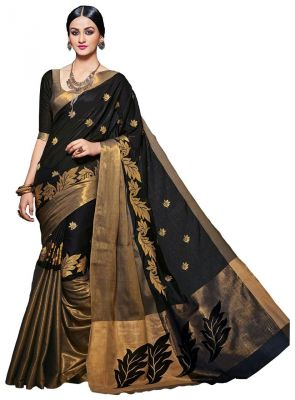 Buy Mahadev Enterprises Black Embroidered Work Cotton Silk Saree Pf02 online
