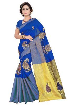 Buy Mahadev Enterprises Blue Cotton Embroidery Work Saree With Unstitched Blouse Pics online