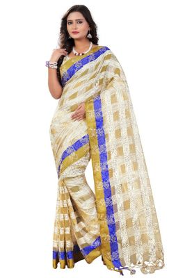 Buy Mahadev Enterprises Chiku & Blue Cotton Checks With Jhalar Saree & Unstitched Blouse Pics online