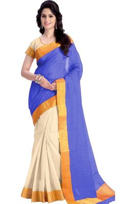 Buy Mahadev Enterprises Blue Color Cotton Silk Saree With Unstitched Blouse Pics Pf16 online